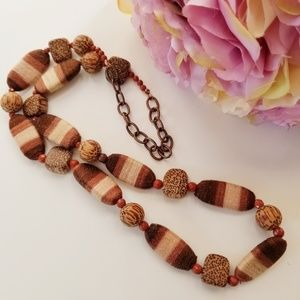 Jewelry - Tribal Boho Wood Bead Goldstone Woven Necklace